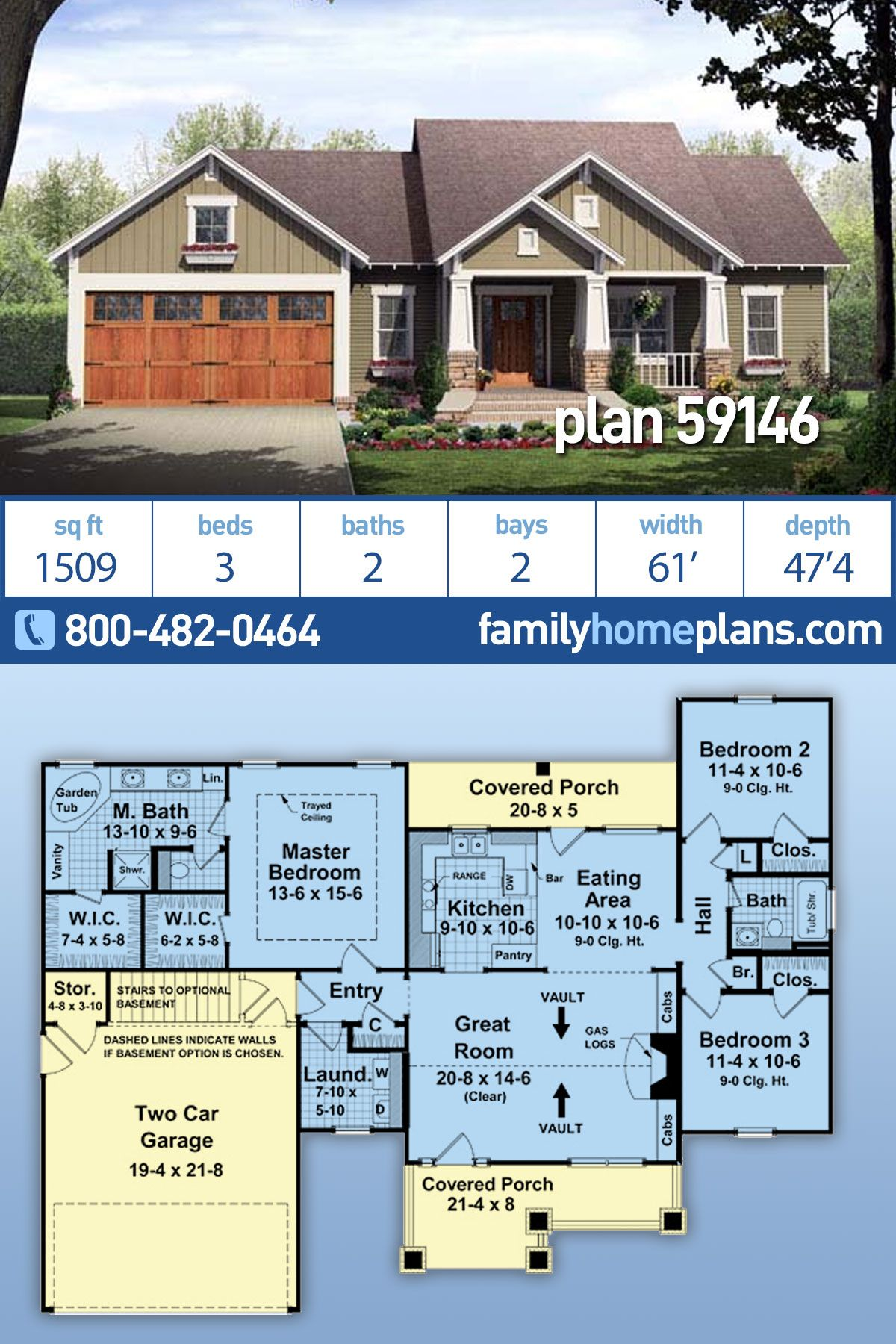 Craftsman Style House Plan 59146 With 3 Bed 2 Bath 2 Car
