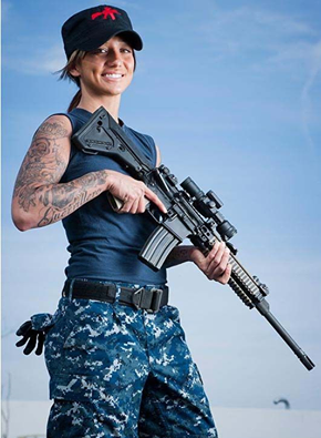 Arms and charms...Petty Officer Jackie Carrizosa is a Navy ...