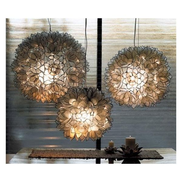 Lotus Flower Chandelier design by Roost ($330) ❤ liked on Polyvore featuring home, lighting, ceiling lights, flower stem, window lights, white chandelier lighting, flower lamp and white flower chandelier
