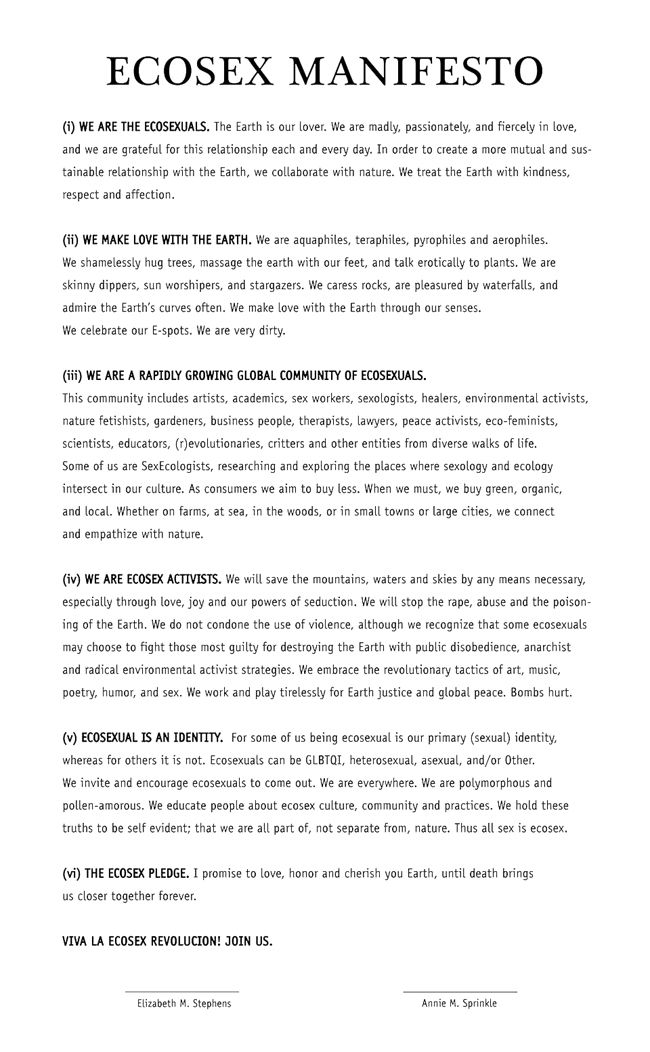 Ecosex Manifesto SEXECOLOGYORG Social Change Pinterest - entry level customer service cover letter