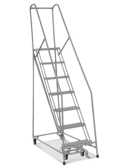 7 Step Narrow Aisle Ladder Assembled With 10 Top Step H 5075a 10 Uline With Images Ladder Metal Steps Safety Ladder