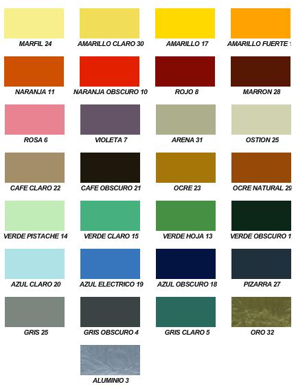 Muestrario de colores pinturas y recubrimientos s a for Gama colores pintura