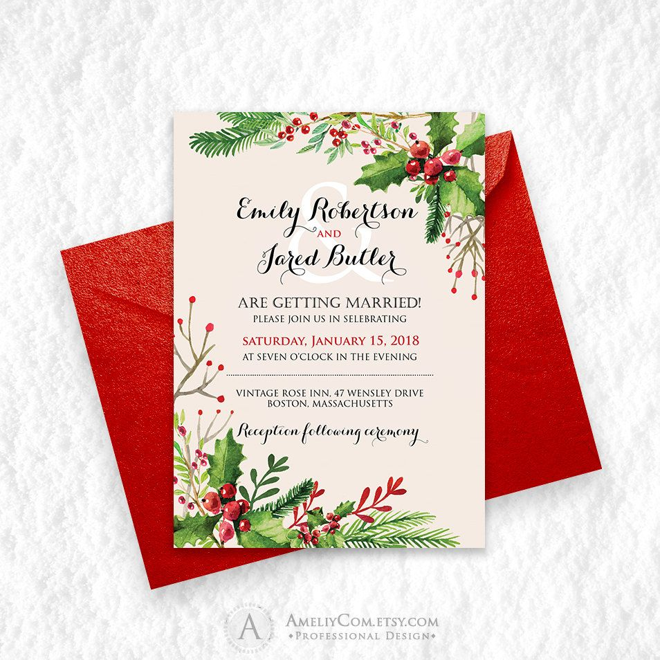 Holly Winter Wedding Invitation Printable - Rustic Winter Wedding ...