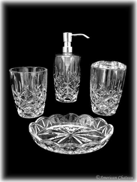 Charmant 4pc Lead Free Cut Crystal Bathroom Accessory Set (Lotion/  Soap/Toothbrush/Cup)