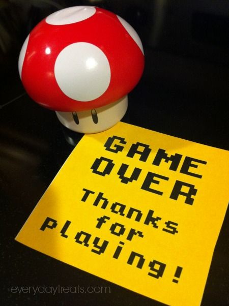 Game Over Thank You Notes Favors Mario Brothers Birthday