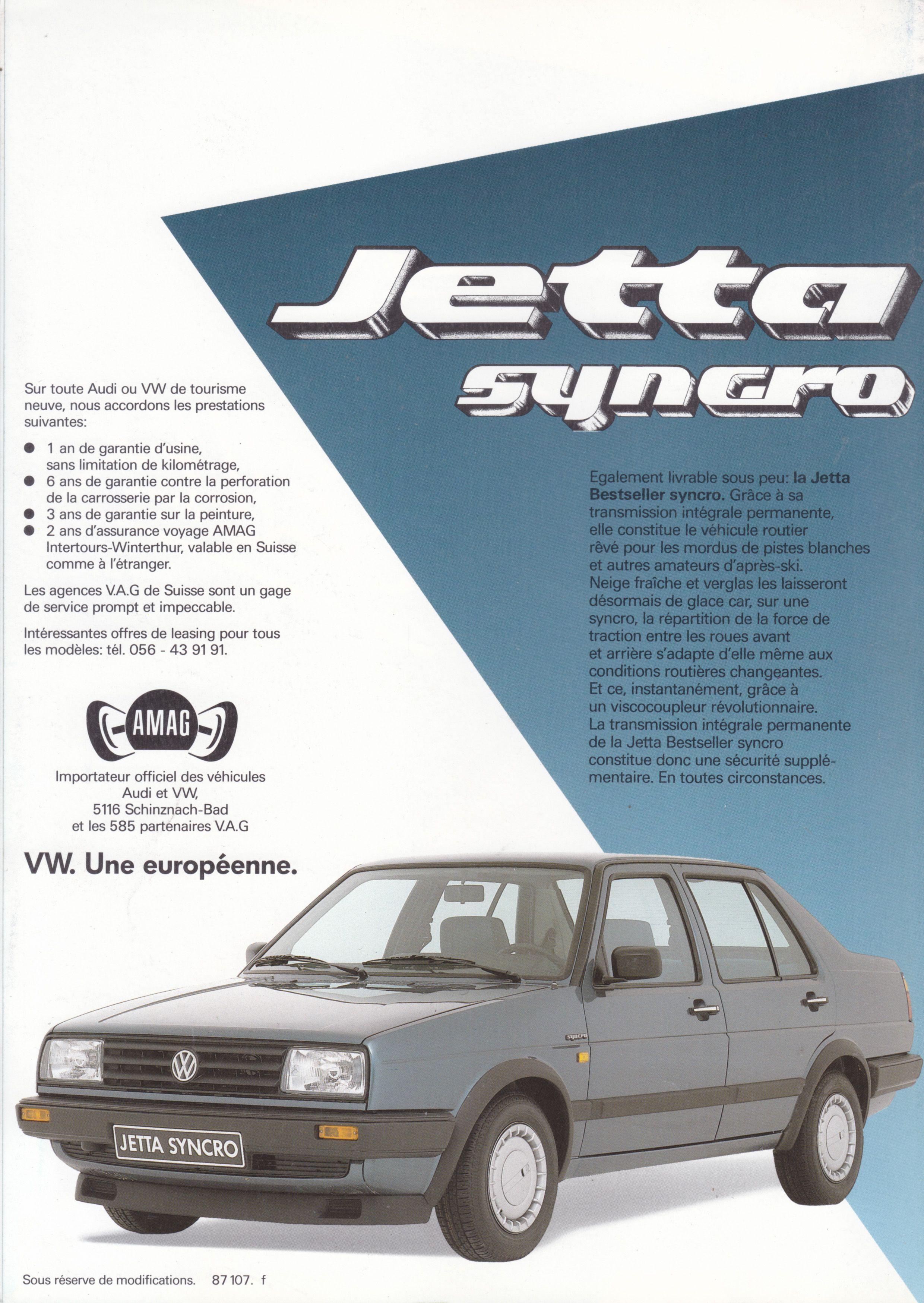 Volkswagen Jetta Bestseller Synchro 4 Page Folder Swiss 87 107 F Rear Volkswagen Jetta Volkswagen Car Vw Jetta