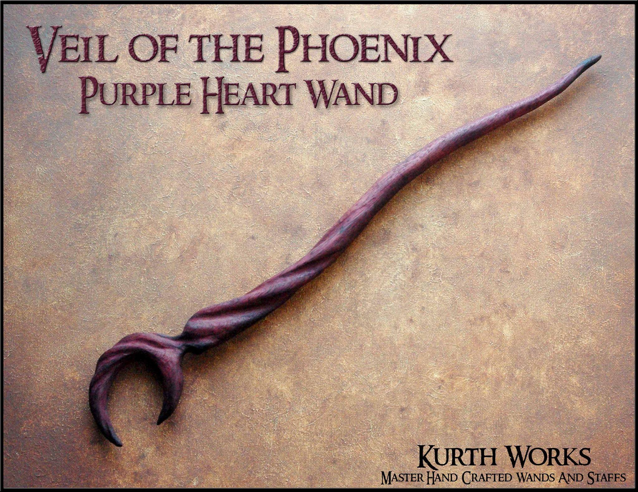 Wooden staff designs kurth works custom hand carved magic wizard wands - Veil Of The Phoenix Purple Heart Wizard Magic Wooden Wand
