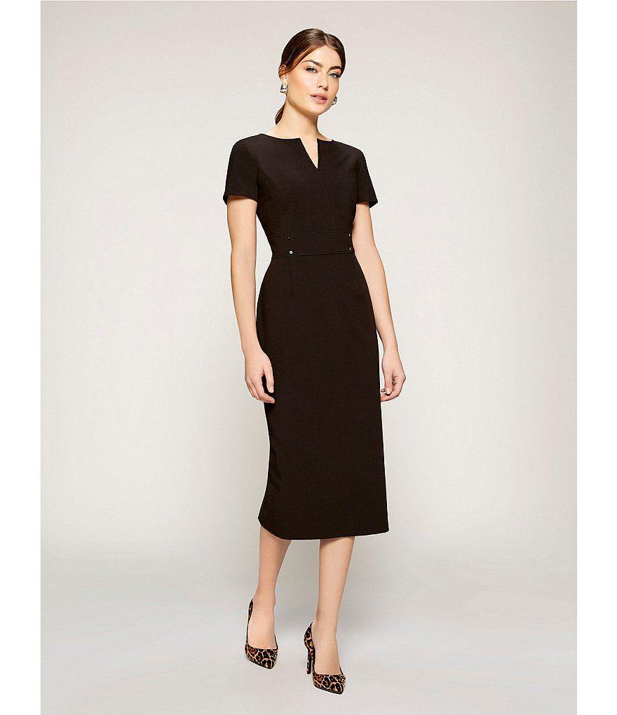 Preston York Blake Notch V Neck Midi Length Sheath Dress Dillard S Sheath Dresses Work Black Dresses Classy Fall Fashion Dresses [ 1020 x 880 Pixel ]