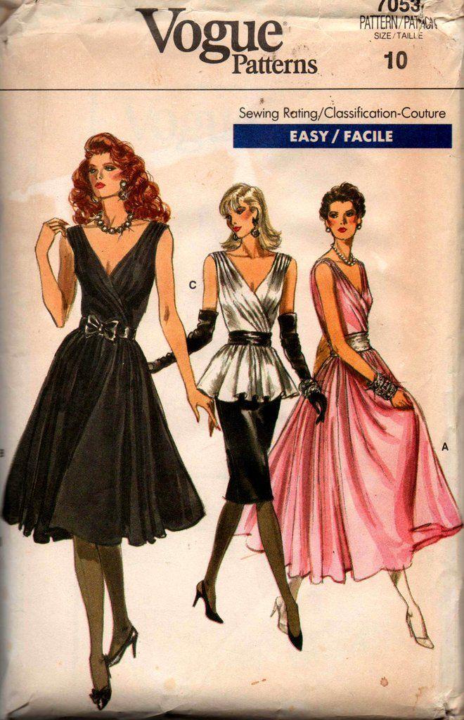 Vogue 7053 Womens Wrap Bodice Evening Dress Skirt & Blouse 80s ...