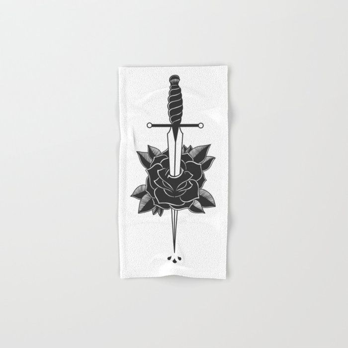 Dagger In Rose (black) Hand & Bath Towel by Chin Hair Designs - Hand Towel
