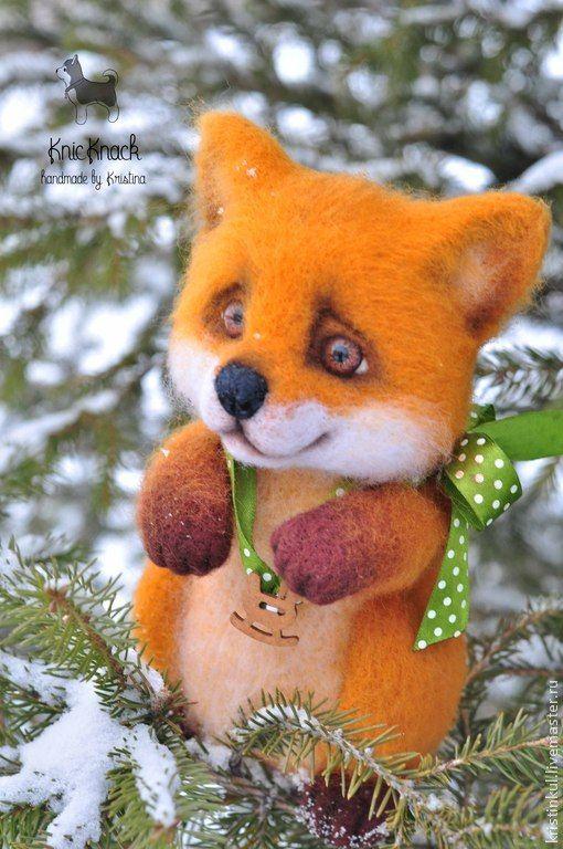 Лисенок - рыжий,оранжевый,елочка,лис,лисенок,лиса,fox,felting,wool,Сухое валяние