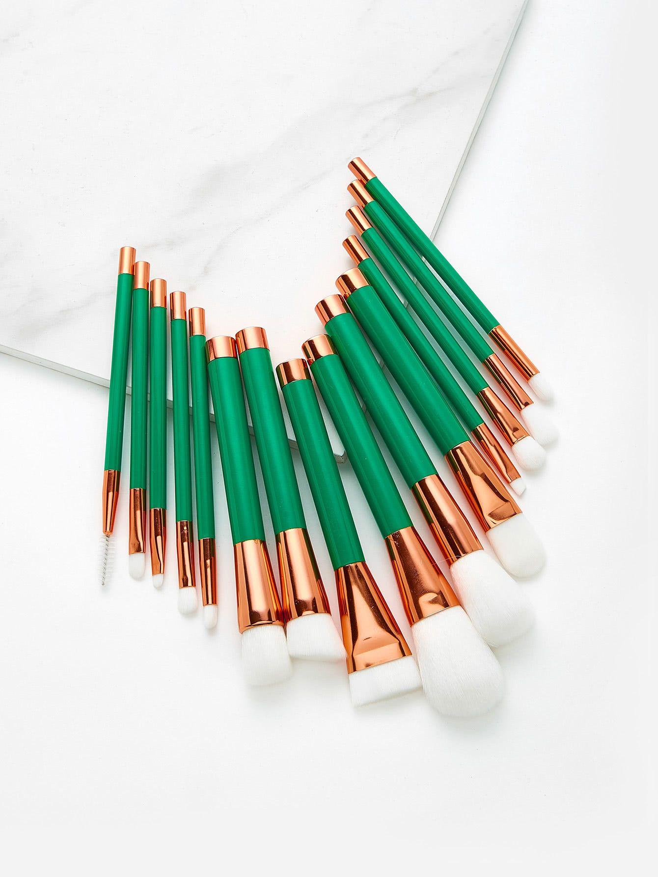 Shop Color Block Makeup Brush 15pcs online. SheIn offers
