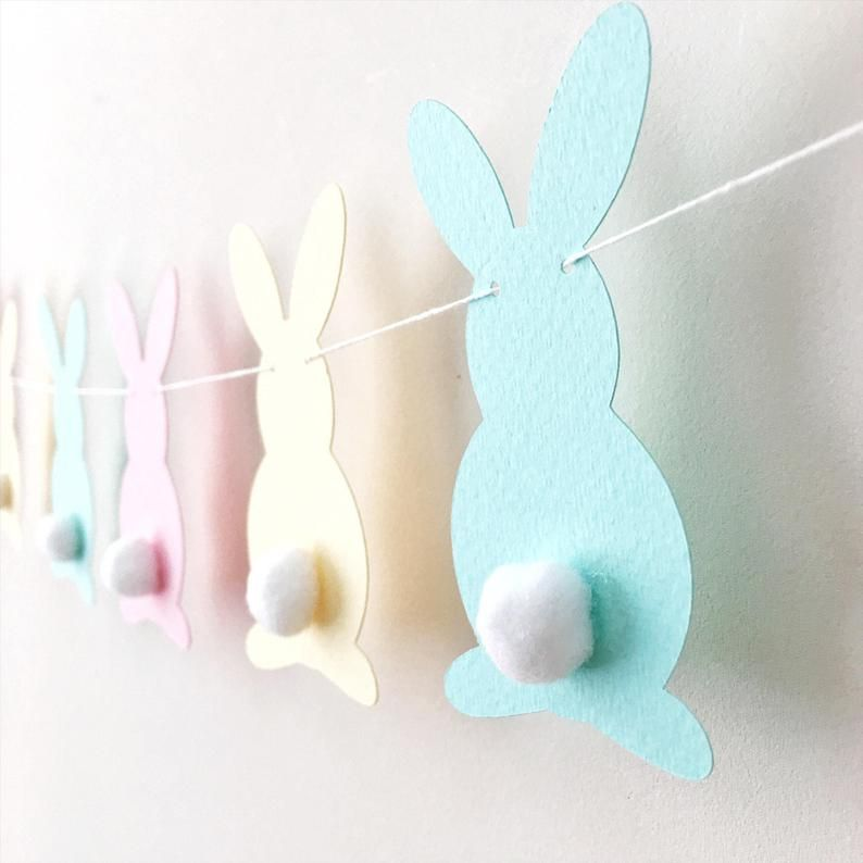 Pastel Bunny Easter Garland Rabbit Garland Bunny Baby Shower 1st Birthday Pink Yellow Aqua Bunny Ban -   18 holiday Easter baby shower ideas