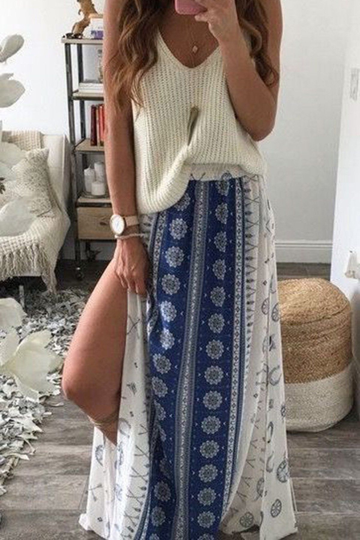 Bohemian Beach Loose Split Print Long Skirt   Boho summer outfits ...