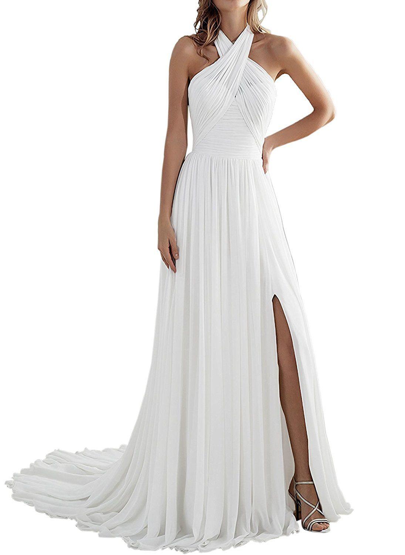 0ceeba0b220 Weiterstar Women s Beach Halter Neck Sleeveless A-Line Backless Chiffon  Dresses White US12 at Amazon Women s Clothing store