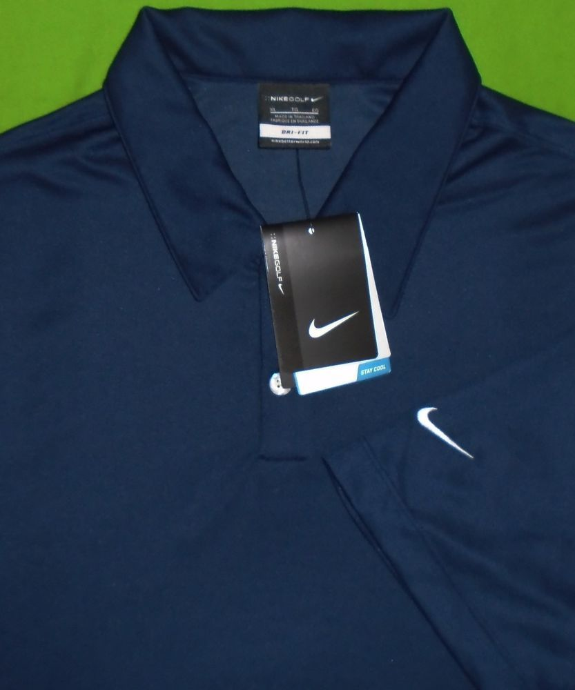 Nike Golf Dri-Fit Polo Shirt Wicking Fabric Navy Blue w Sponsor Logo Men XL  NWT  NikeGolf  PoloRugby e26dd54f5