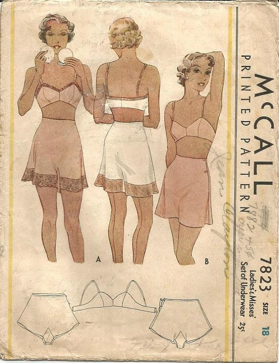 1930s Tap Panties Side Buttoning and Bandeau Bra Women s Underwear ORIGINAL  McCall 7823 ©1934 Bust 36 Women s Vintage Sewing Pattern 0fa145364