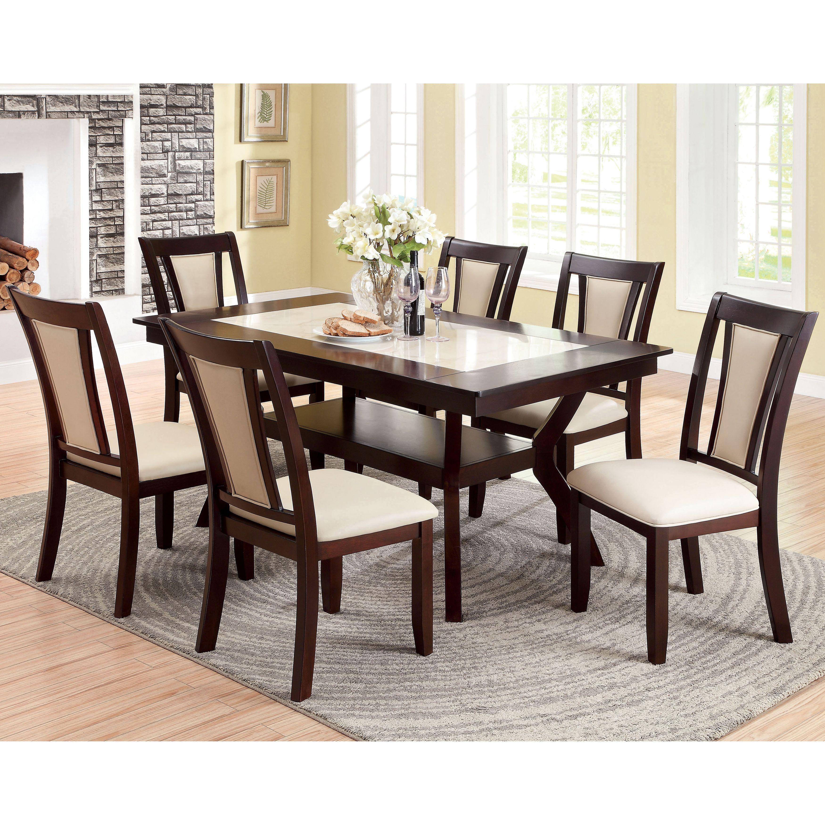 Furniture Of America Kateria Dark Cherry 7 Piece Dining Set