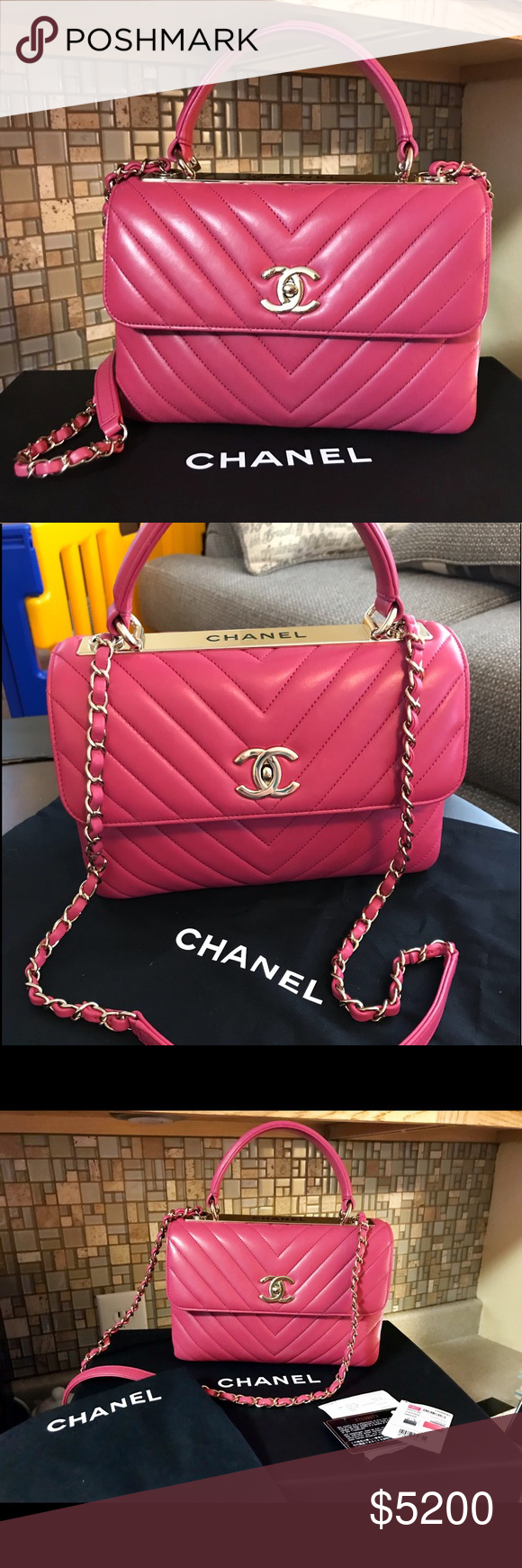 4ed6d376c868 CHANEL New 18' Chevron Pink Sm Trendy Bag Auth. CHANEL 2018 New Top Handle  Sm. Chevron Trendy. Bag was purchased only 2 months ago from Michagan Ave.