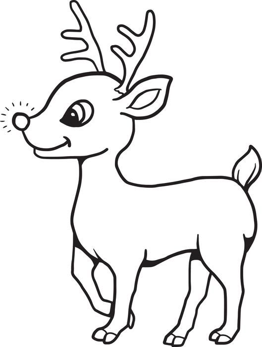 FREE Printable Baby Reindeer Christmas Coloring Page for