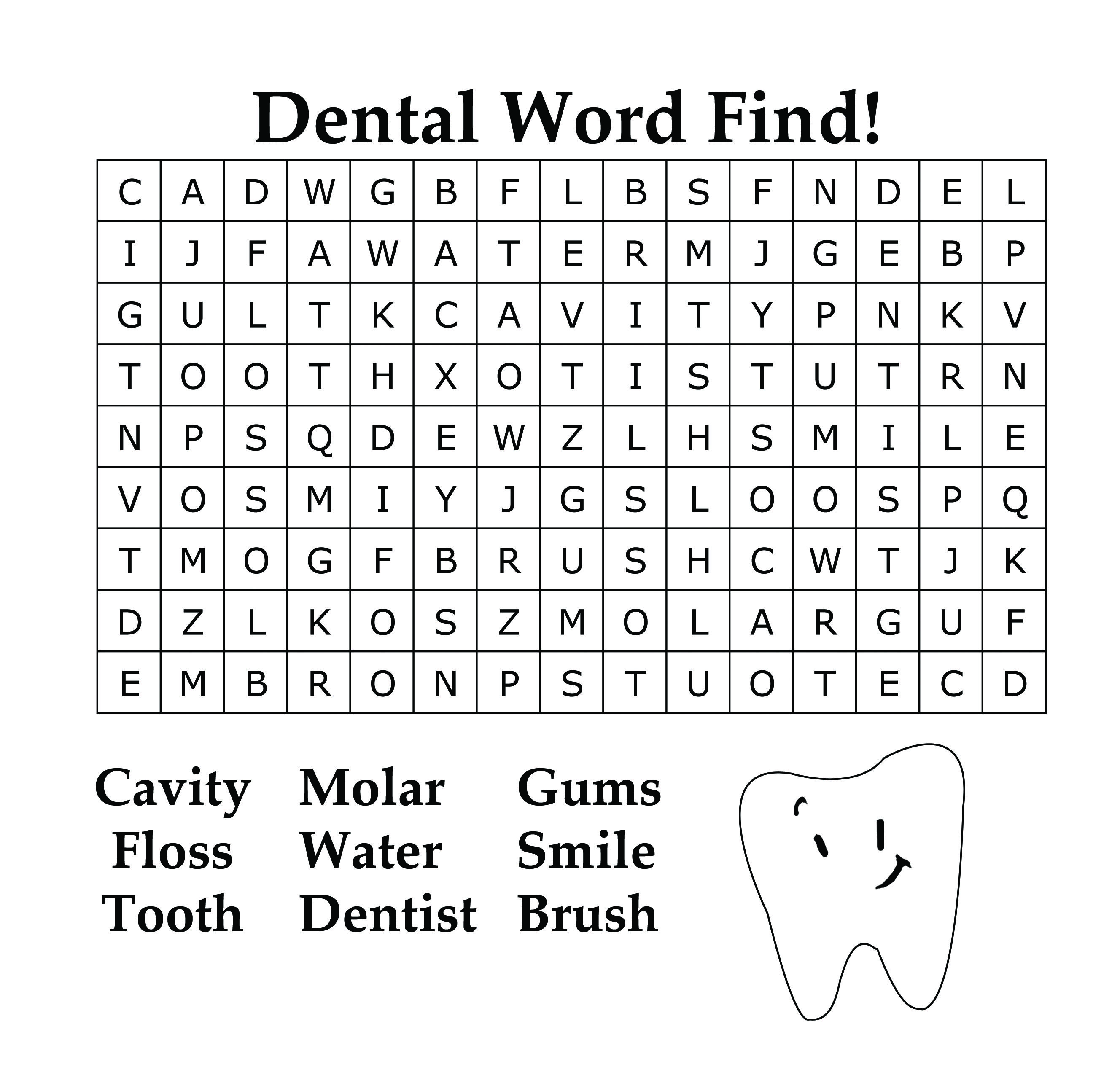 Dental Word Find For Kids In Honor Of February Dental