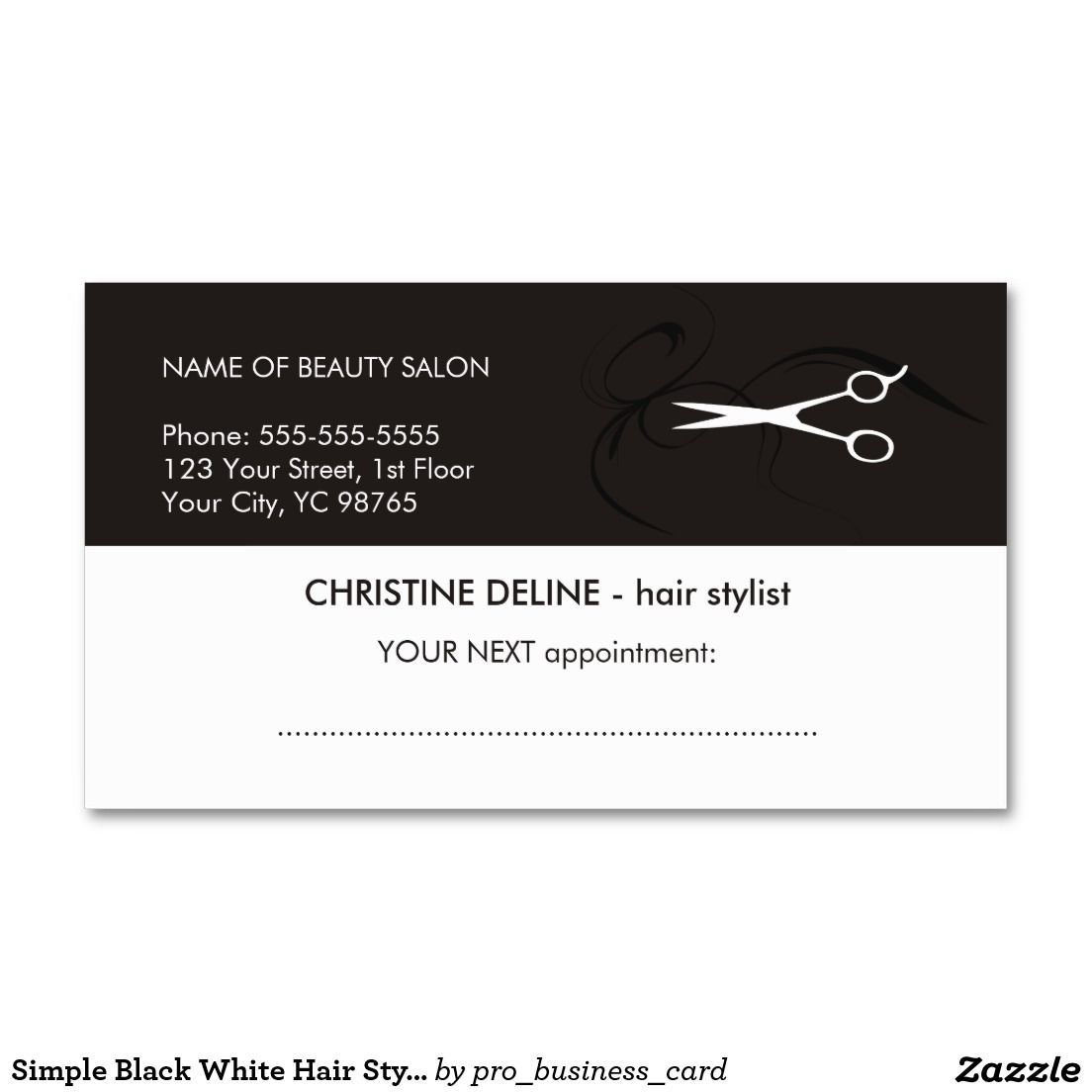 Simple Black White Hair Stylist Appointment Card | Black white hair ...