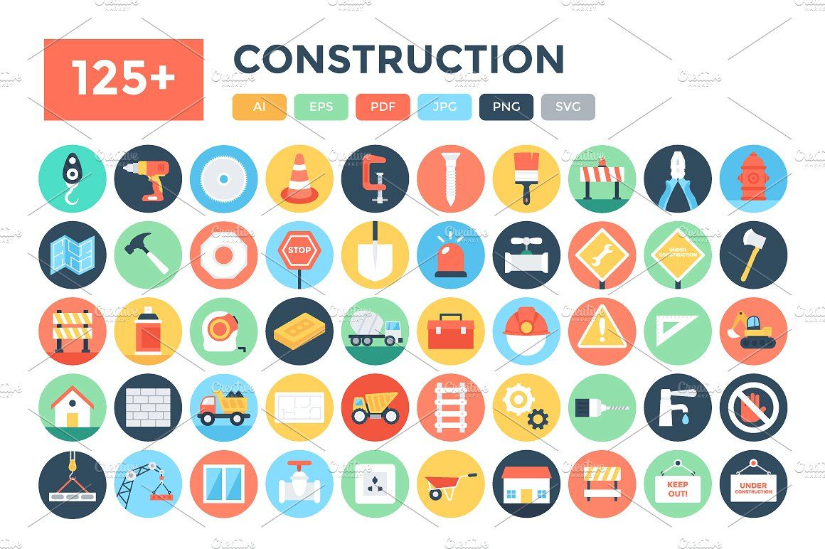 125+ Flat Construction Icons Marketing icon, Office icon