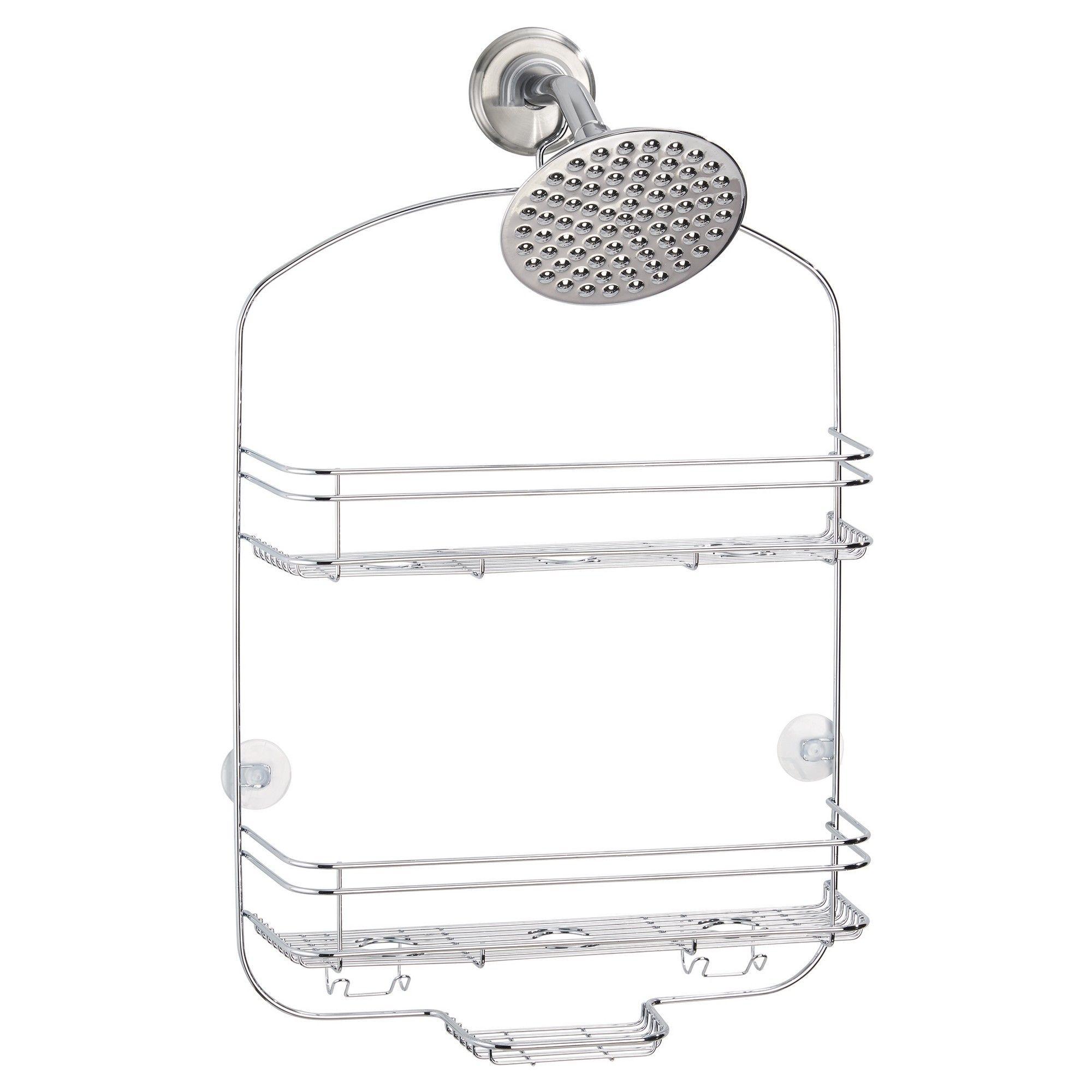 Bathroom Shower Caddy Chrome Grey Wide Threshold