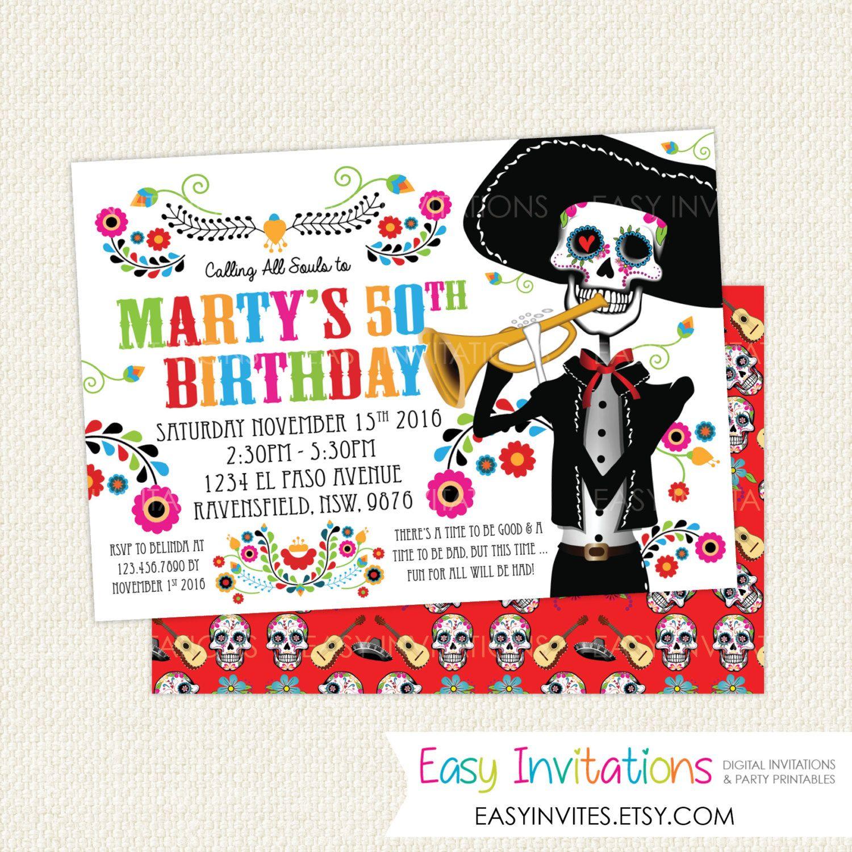 Sugar Skull invitation, sugar skull invite, Day Of The Dead ...