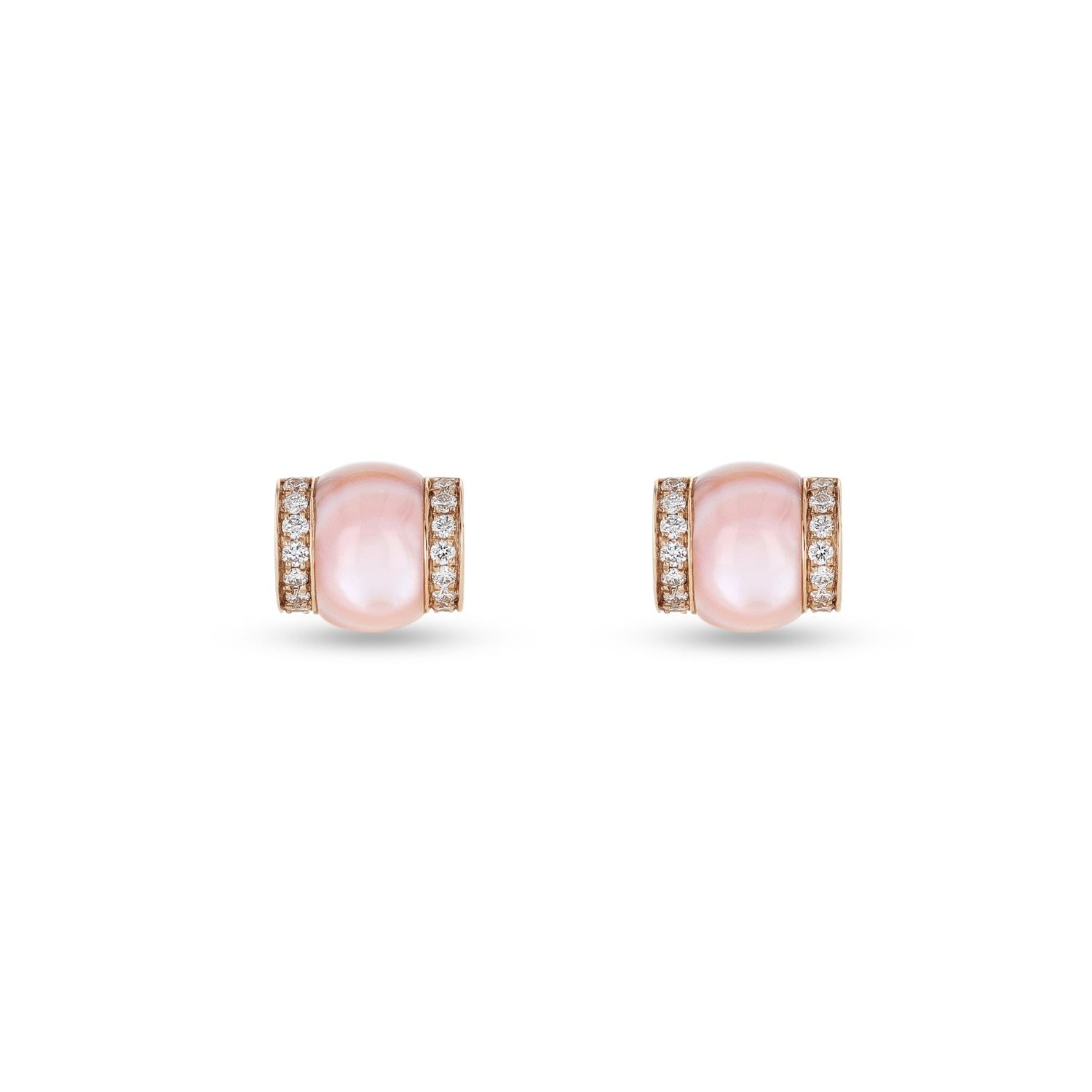 Pink mother of pearl, around 2.8 ct, diamonds: a total of 0.013ct, vs-si clarity, ugh color. Set in rose gold 18kw around 3.10G Avoid alcohol contact with the gemstone.