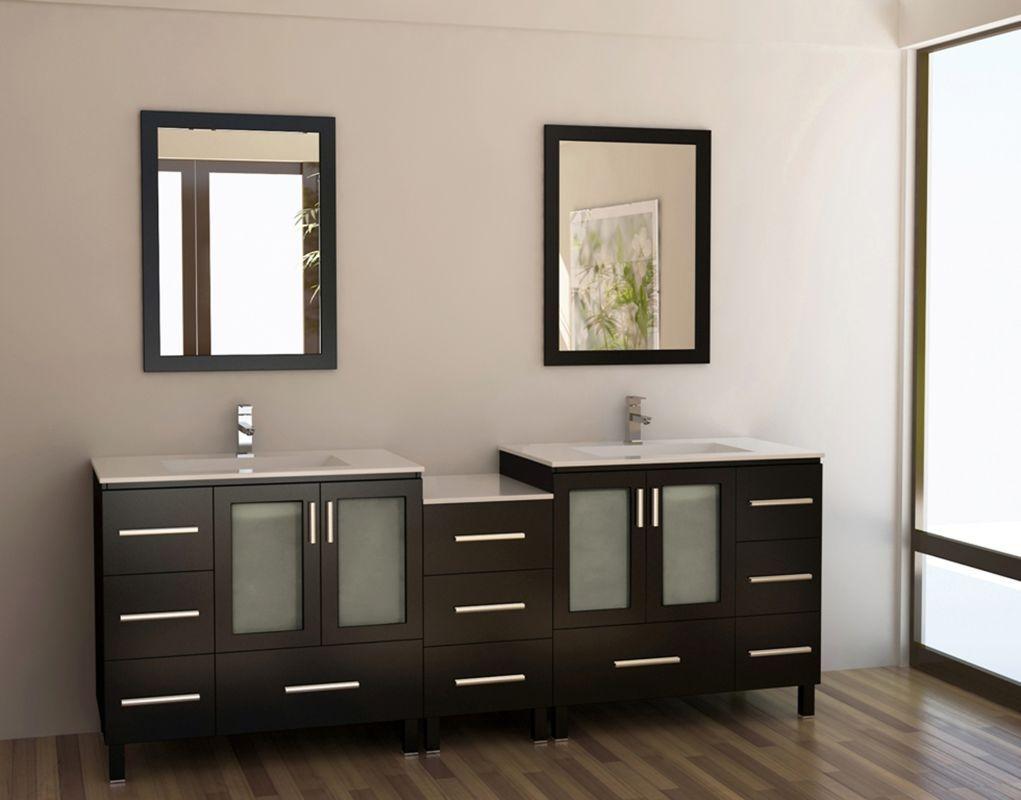 """Design Element DEC360-DS Gelatin 88"""" Free Standing Vanity Set with Cabinet Top Espresso Fixture Vanity Double"""