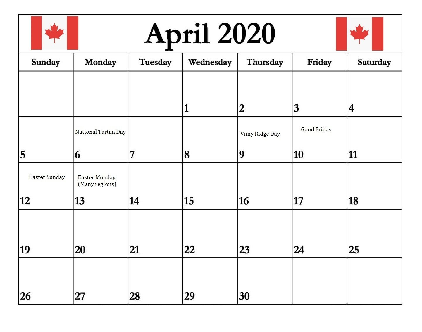 Canada April 2020 Holidays Calendar In 2020 Holiday Calendar Happy Canada Day Federal Holiday Calendar