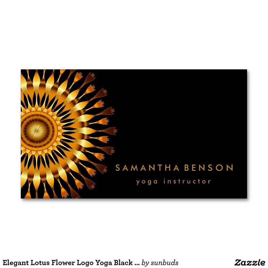 Elegant Lotus Flower Logo Yoga Black Background Business Card ...