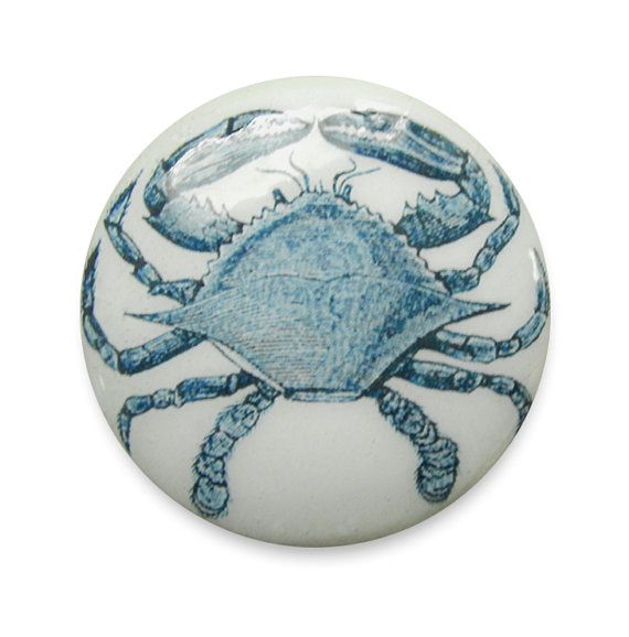 Blue Crab Cabinet Knobs Pull : Nautical Sea Life Style Wood Hardware For A  Kitchen Or