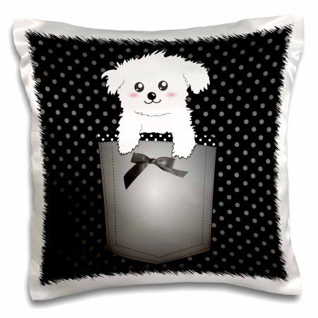 3dRose Puppy dog cartoon in girly pocket - black and white polka dots with black ribbon bow - anime kawaii, Pillow Case, 16 by 16-inch