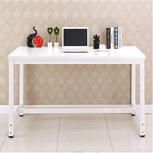 Livivo Simple Style Office Desk With Wooden Top And Metal Frame
