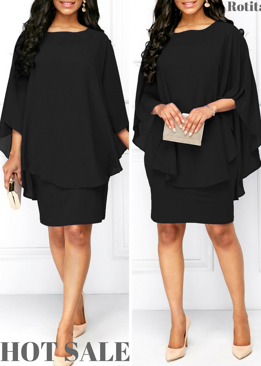 Black Chiffon Overlay Round Neck Dress#rotita | Fashion Dresses in ...