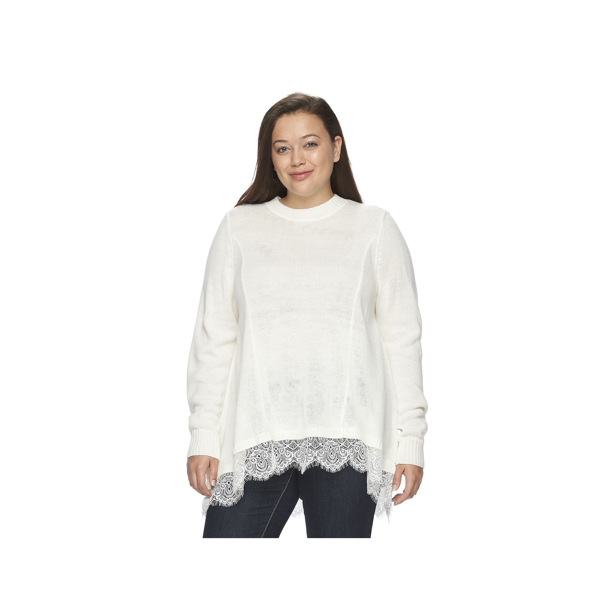 Juniors' Plus Size SO® Scalloped Lace Tunic Sweater, Teens, Size ...