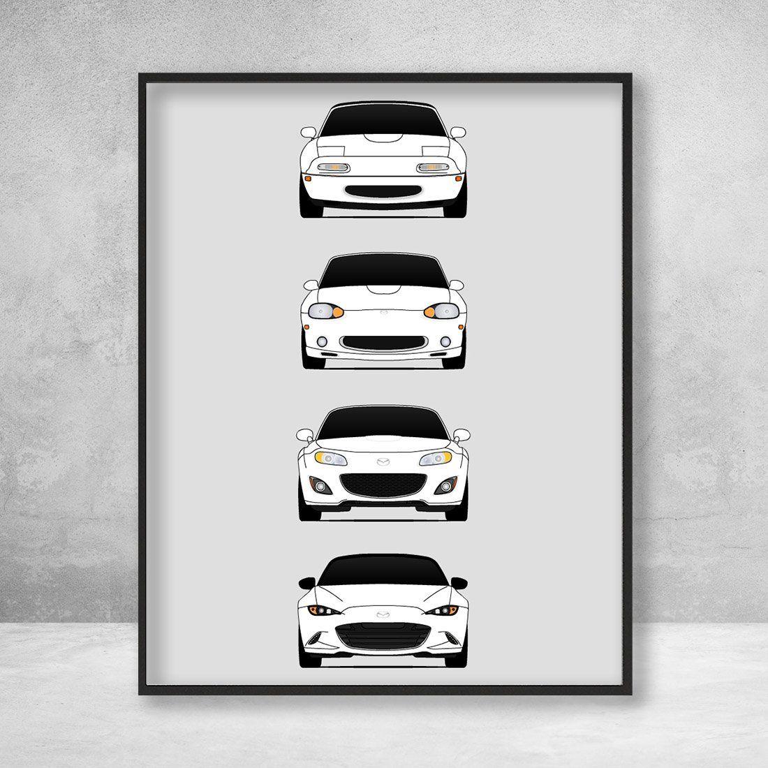 Mazda Miata Generation/History Print (White)
