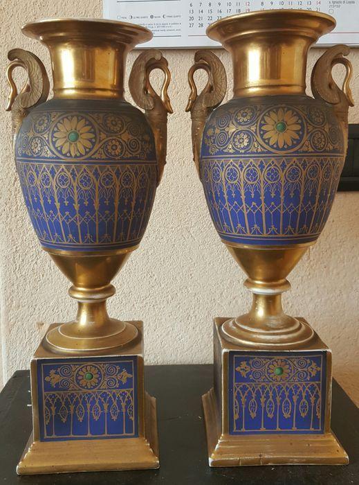 Porcelain De Paris Rare Pair Of Classical Vases With Neo Gothic