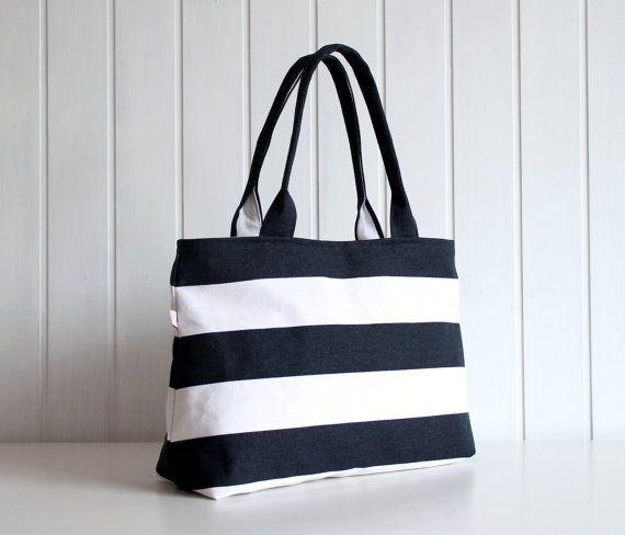 Hey Sailor.. Navy / White Bold Stripes Tote Bag / Beach Bag / ZIPPER TOP CLOSURE / Diaper Bag, Laptop Bag, Large, Medium
