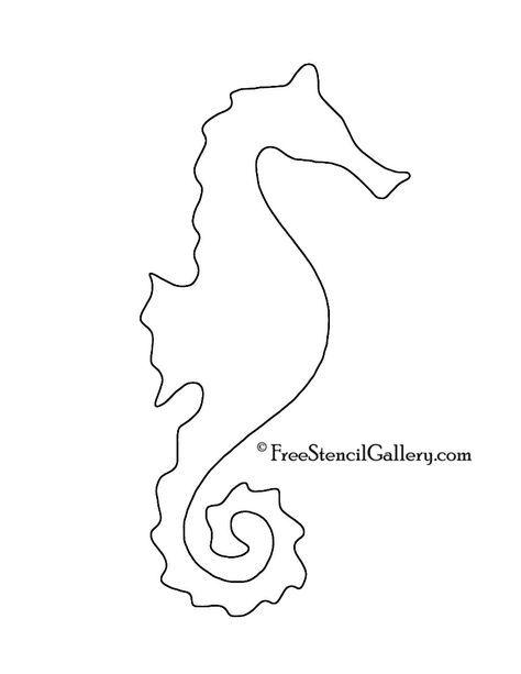 Seahorse Silhouette Stencil Stensiller Denizatlari Aplike Sablonlari