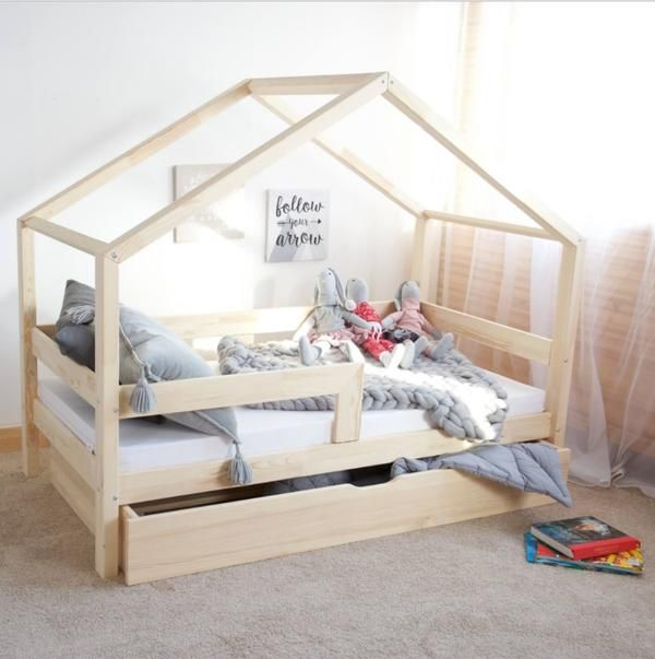 lit cabane avec tiroir gigogne roma naturel avec ou sans. Black Bedroom Furniture Sets. Home Design Ideas
