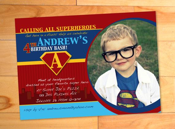 Superhero Birthday Invitation Custom Superman Photo Card Birthday