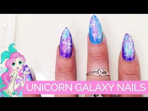 Diy Tuorial Unicorn Inspired Galaxy Nail Art Youtube