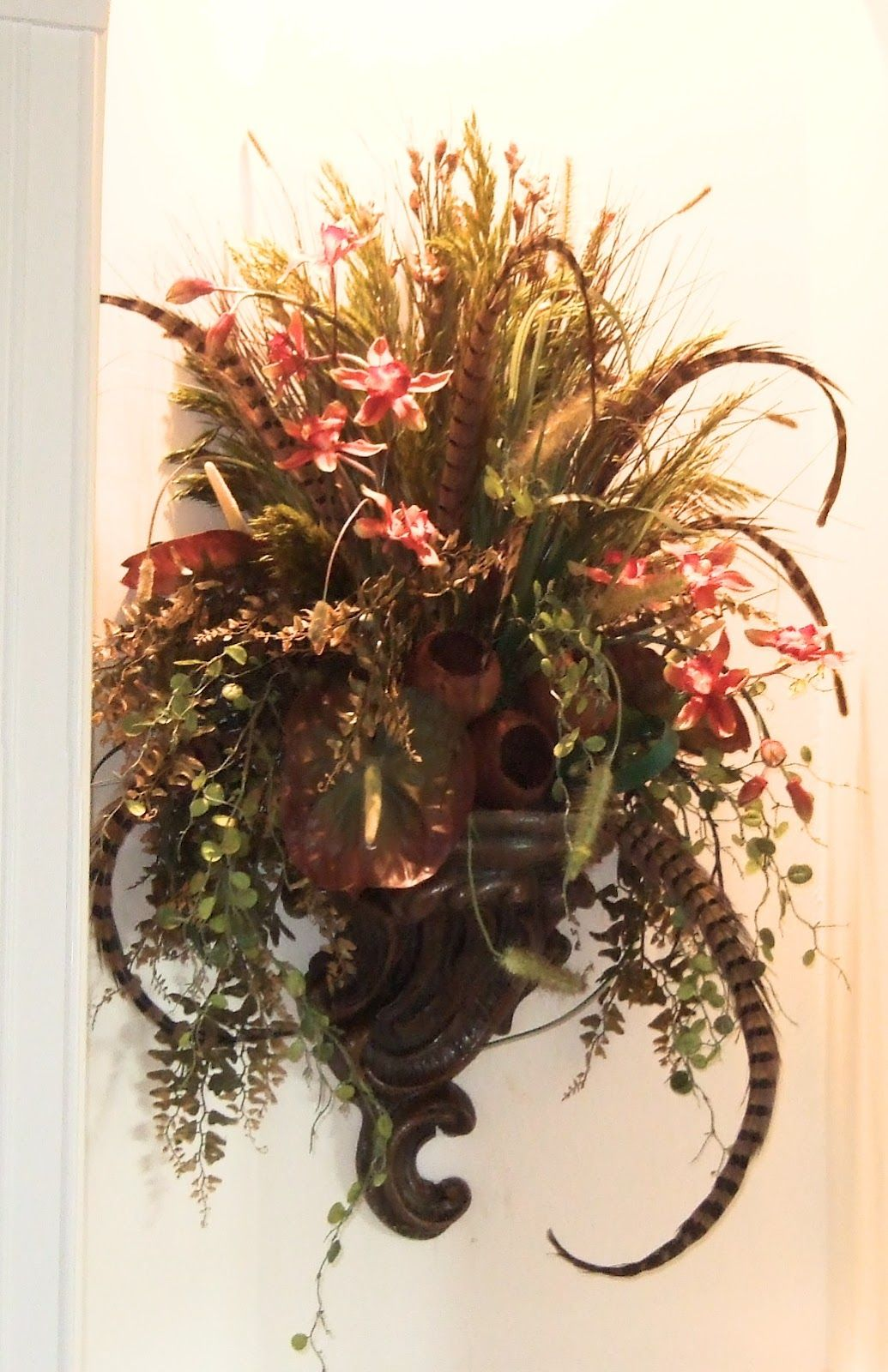 Wall Fl Arrangements Images Sconces Silk Flowers