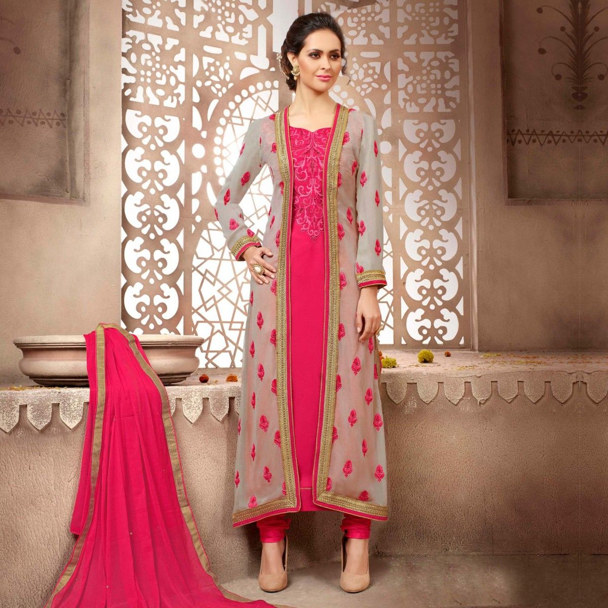 Buy Pink - Grey Jacket Style Designer Suit for womens online India ...