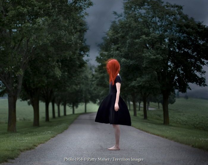 Patty Maher YOUNG RED HAIRED GIRL ON COUNTRY PATH Women