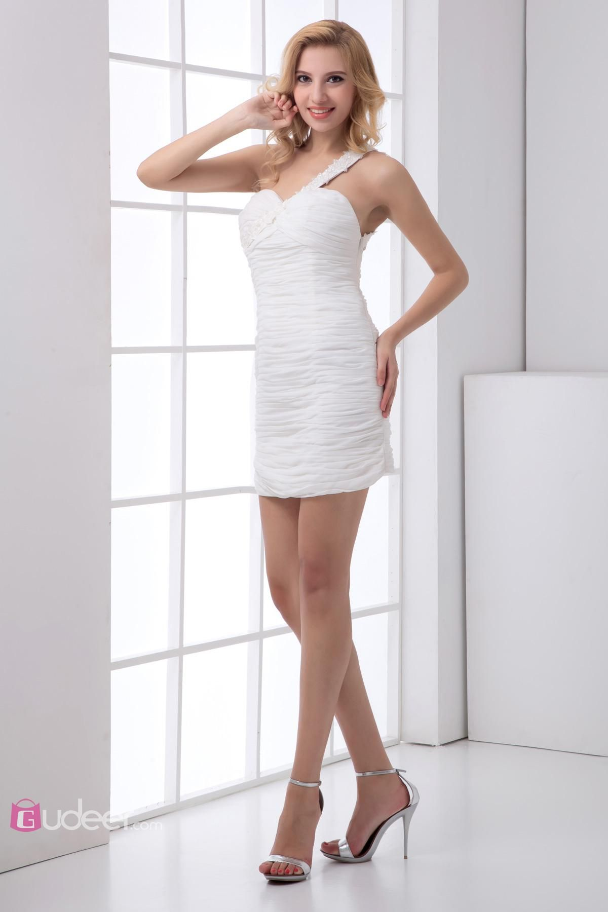 White One Shoulder Short Mini Chiffon Prom Dress