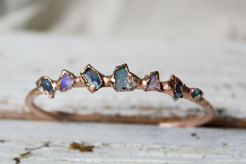Natural Black Opal Bangle Bracelet Australian Opal Cuff Bracelet